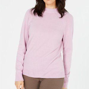 NWT Karen Scott Pink Luxsoft Mock-Neck Sweater - S